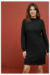 Womens Next Black Cosy High Neck Jumper Dress -  Black