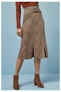 Womens Next Print Ditsy Split Skirt -  Brown