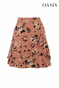 Womens Oasis Orange Rose Ruffle Skirt -  Orange