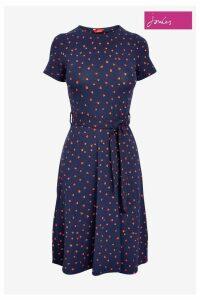Womens Joules Blue Monica Short Sleeve Jersey Dress With Belt -  Blue