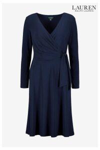 Womens Lauren Ralph Lauren Navy Corren Wrap Dress -  Blue