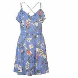 Rock And Rags  Print Stripe Frill Dress Ladies  women's Dress in Blue