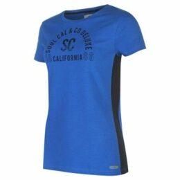Soulcal  Deluxe Mesh Panel T Shirt  women's T shirt in Blue