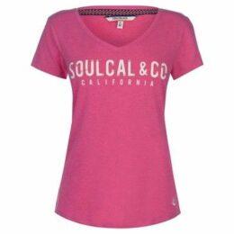 Soulcal  V Neck Logo T Shirt Ladies  women's T shirt in Pink