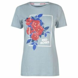 Rfu  Red Roses T Shirt Ladies  women's T shirt in Blue