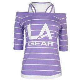 L.A. Gear  Mock Layer T Shirt Ladies  women's T shirt in Purple