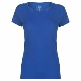 Asics  V Neck Short Sleeve T Shirt Ladies  women's T shirt in Blue