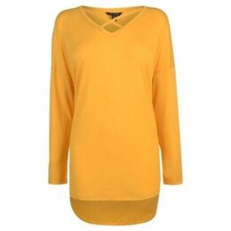 Miso  Long Sleeve Cross Strap Tee Ladies  women's Blouse in Yellow