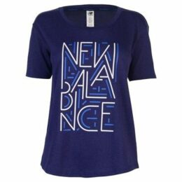 New Balance  Balance Heather Tech Tee Ladies  women's T shirt in Blue