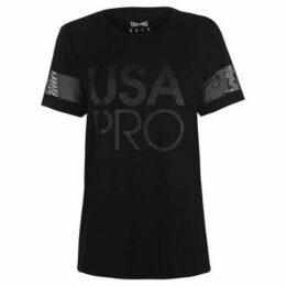 Usa Pro  Long Line Short Sleeve T Shirt Ladies  women's T shirt in Black