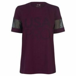 Usa Pro  Long Line Short Sleeve T Shirt Ladies  women's T shirt in Purple