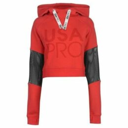 Usa Pro  Crop Mesh Hoodie Ladies  women's Sweatshirt in Red