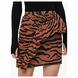 AllSaints Zephyr Tiger Ruffle Skirt, Toffee Brown/Black