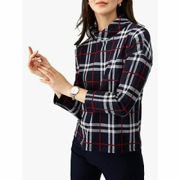 Pure Collection Jersey Roll Neck Top, Navy Check