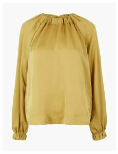 Autograph Satin Gathered Neck Oversized Blouse