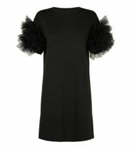 Cameo Rose Black Mesh Ruffle Sleeve Dress New Look