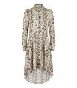 Blue Vanilla Stone Snake Print Shirt Dress New Look