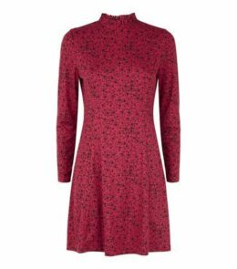 Petite Red Floral Soft Touch Long Sleeve Dress New Look