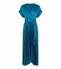Teal Satin Pleated Midi Dress New Look