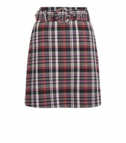 Pink Check Buckle Mini Skirt New Look