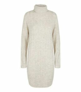 Pale Grey Roll Neck Jumper Dress New Look