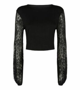 Cameo Rose Black Lace Sleeve Top New Look