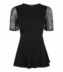 Black Lace Sleeve Tie Back Top New Look
