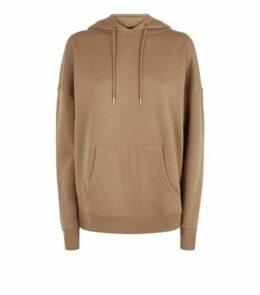 Brown Long Sleeve Jersey Hoodie New Look
