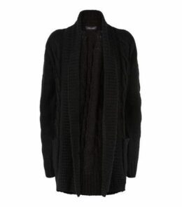 Black Cable Knit Cardigan New Look