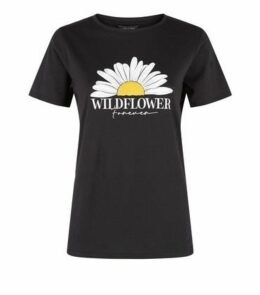 Black Daisy Wildflower Forever Slogan T-Shirt New Look