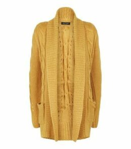 Mustard Cable Knit Cardigan New Look