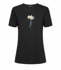 Tall Black Happy Daisy Slogan T-Shirt New Look