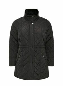 Black Faux Fur Padded Coat, Black