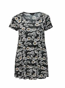 Black Floral Print Swing Tunic, Black