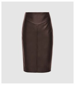 Reiss Megan - Leather Pencil Skirt in Berry, Womens, Size 14