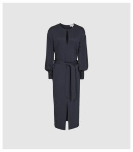 Reiss Inaya - Belted Midi Dress in Blue, Womens, Size 16