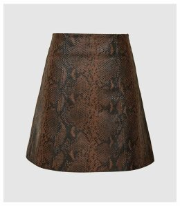 Reiss Bethann - Snake Printed Leather Mini Skirt in Brown, Womens, Size 14