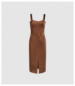 Reiss Madeleine - Structured Bodycon Dress in Chocolate, Womens, Size 16