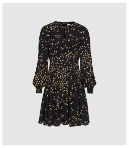 Reiss Arabella - Spot Printed Mini Dress in Black, Womens, Size 16
