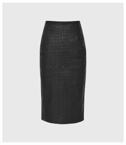 Reiss Arianne - Leather Paneled Pencil Skirt in Black, Womens, Size 14