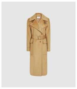 Reiss Everley - Wool Blend Belted Trench Coat in Camel, Womens, Size 14