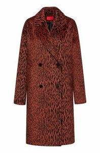 Relaxed-fit double-breasted coat in leopard fabric