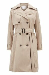 Double-breasted trench coat with oversized lapels