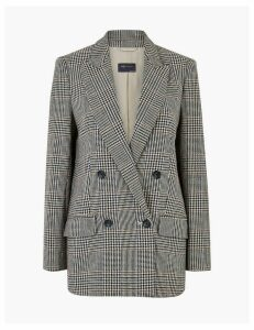 M&S Collection Italian Wool Checked Double Breasted Blazer