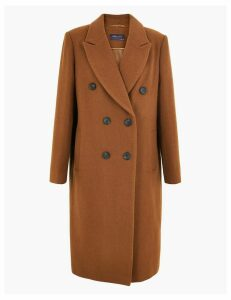 M&S Collection Wool Blend Double Breasted Overcoat