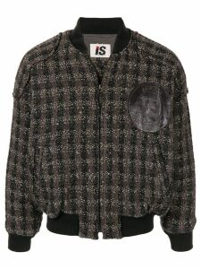 Issey Miyake Pre-Owned 1980's woven checked bomber jacket - Black