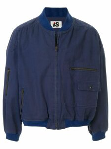 Issey Miyake Pre-Owned 1980's Sports Line logo print bomber - Blue