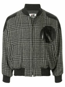 Issey Miyake Pre-Owned 1980's Sports Line logo patch plaid bomber -