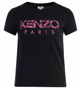Kenzo Black Cotton T-shirt With Patchwork Front Logo