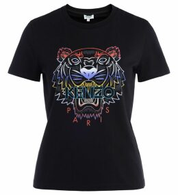 Kenzo Tigre T Shirt In Black Cotton With Front Logo